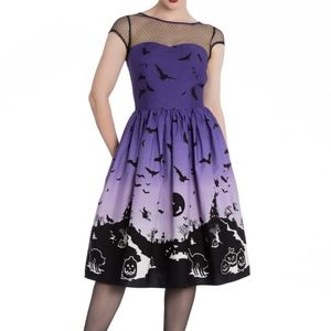 Hell Bunny Haunt 50s Bat Black Cat Dress Halloween